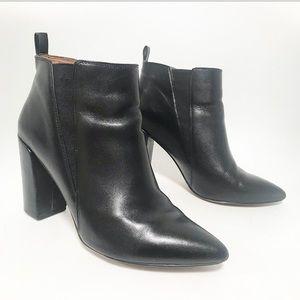 Zara. Pull tab back block heel ankle bootie